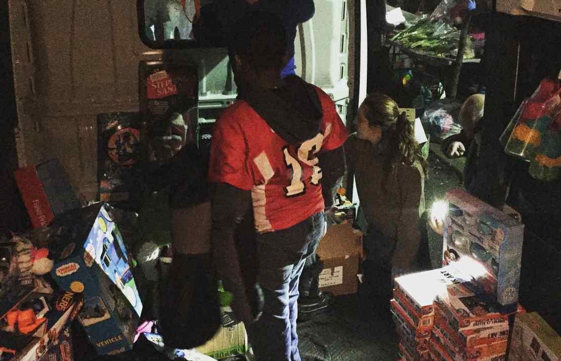 Sharing Toys at the Community Solidarity Huntington Food Share